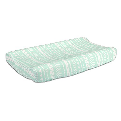 Shell Mint - Mint Green Tribal Print 100% Cotton Changing Pad Cover by The Peanut Shell