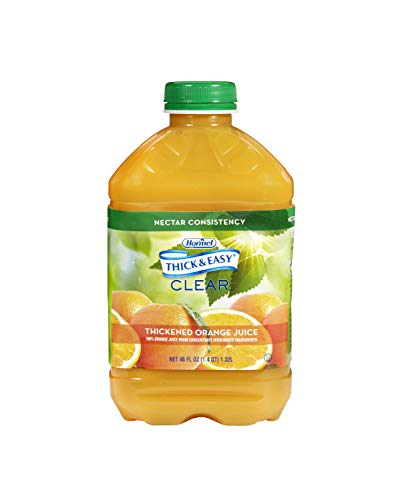 Thick & Easy Thickened Beverage 46 oz. Bottle Orange Juice Flavor Ready to Use Nectar Consistency, 42161 – Case of 6