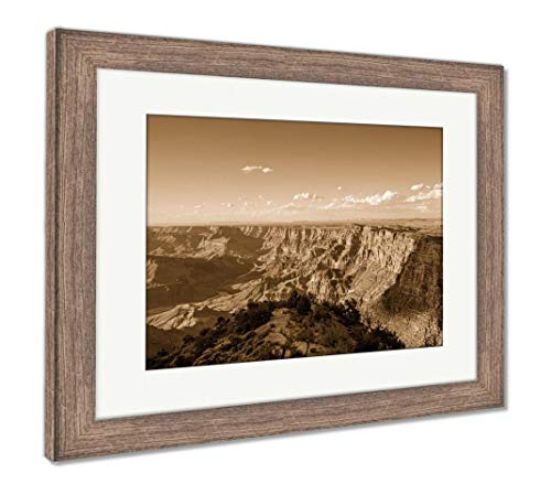 Ashley Framed Prints The Grand Canyon National Park South Rim at Desert Viewpoint During Sunset, Wall Art Home Decoration, Sepia, 30x35 (Frame Size), Rustic Barn Wood Frame, AG5602963