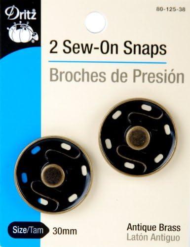 12 Sew-On Snaps Size 3//0 Prym-Dritz 80-30-65 Nickel-Plated Brass Overlap Closure