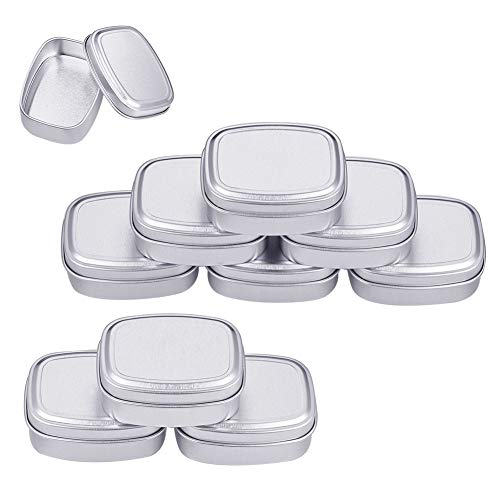 BENECREAT 10 Pack 2oz Tin Cans Rectangular Aluminum Containers with Solid Top Lid and Round Smooth Edges for Treats, Favors and Crafts (Platinum)