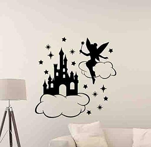 Tinkerbell Wall Decal Disney Castle In The Sky Wall Decal Walt Disney Decal Fairy Decor Gift Vinyl Sticker Disneyland Print Girl Nursery Wall Art Baby Room Kids Decor Children Nursery - Castle Tinkerbell