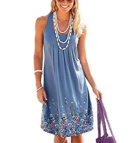 Akihoo Women's Summer Casual Tank Dress Sleeveless Floral Swing T-Shirt Loose Sundress Knee Length Dress YH4-Blue S ()