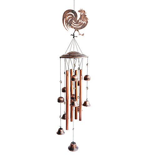 BLESSEDLAND Metal Rooster Wind Chimes-4 Hollow Aluminum Tubes -Wind Bells and Metal Rooster-Wind Chime with S Hook for Indoor and Outdoor by BLESSEDLAND
