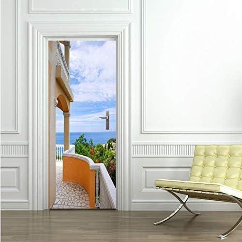 GLYOUNG Vinilos Puertas Villa Puerta Pegatinas De Pared Dormitorio Decoración del Hogar Poster 3D PVC Etiqueta De La Puerta A Prueba De Agua 77X200Cm: Amazon.es: Hogar