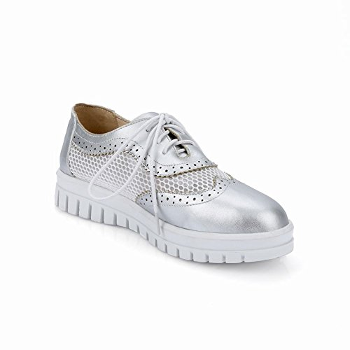 Show Shine Womens Fashion Mesh Oxfords Flats Shoes Silver a6IKzH