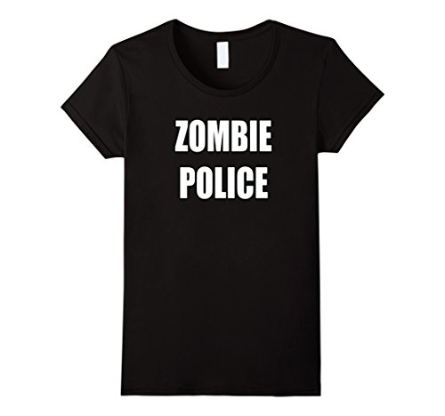 Zombie Police Costume Womens (Womens Zombie Police Shirt Apocalyptic Costume Party Halloween XL Black)