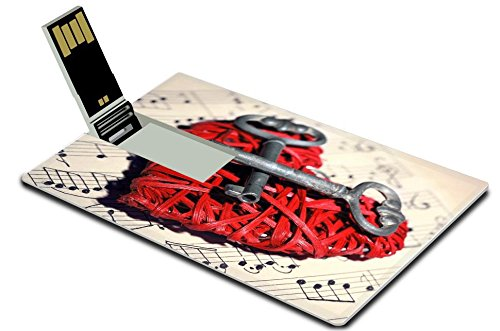 Luxlady 32GB USB Flash Drive 2.0 Memory Stick Credit Card Size Retro keys with wicker heart on music book background IMAGE 38693405 (Wicker Hearts Wholesale)