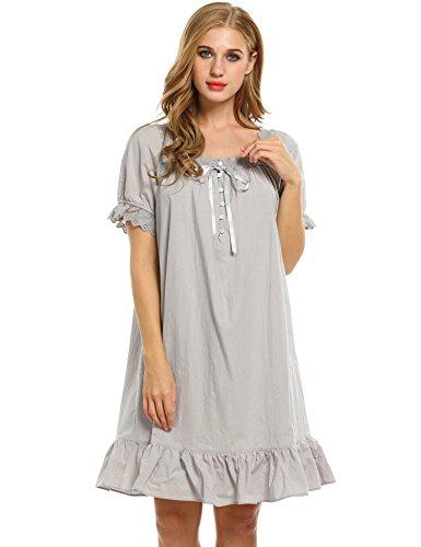 Arshiner Ropa de Dormir para Mujer Vestido Algodón Manga Corta Pijama Ropa Interior�?Gris