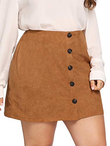 SheIn Women's Plus Size High Waist Faux Suede Button Closure Mini Short Skirt Camel 2XL