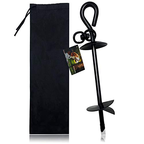 Premium Dog Tie Out Stake, Extra Heavy Duty Dog Anchor Spike for Tie-Out Cable Chain in Yard or Camping, No Bending or Pulling Out for Small, Medium or Large Dog