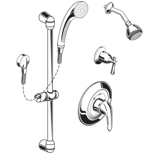 American Standard 1662.223.002 Commercial Shower System Complete Kit, Polished Chrome - Polished Chrome Shower Kit