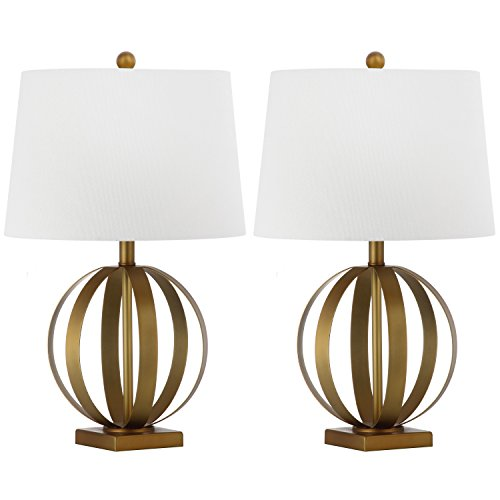 Safavieh Lighting Collection Euginia Sphere Gold 24.5-inch Table Lamp (Set of 2) (Traditional Table Spheres Lamp)