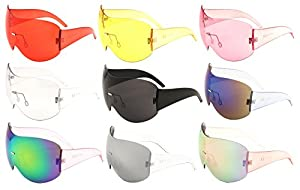 Alps Rimless Oversized Mono One Piece Shield Sunglasses