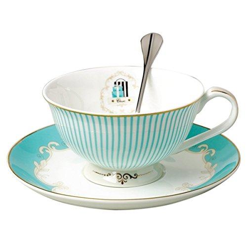 [FlorisHome Vintage Blue Bone China Teacup Spoon and Saucer Set] (Bone China Cup Saucer)