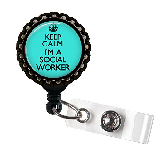 Keep Calm I'm a Social Worker - Blue and Black Traditional Tattoo Flash Retractable Badge Reel ID Holder