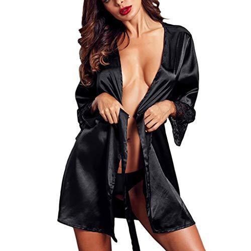 (Nightgowns for Women Plus Size Sleepwear for Women Women Sexy Silk Kimono Satin Dressing Gown Bath Robe Lace Lingerie Nightdress Chemise Strap Mini Slutty Tassels Black)