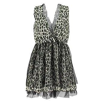 cd5c795603 Gossipi LEOPARD PRINT DRESS green-black S-M  Amazon.co.uk  Clothing