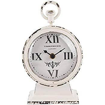 High Quality NIKKY HOME Vintage Metal Round Analog Table Clock White 4.75 By 2.5 By 7.62  Inches