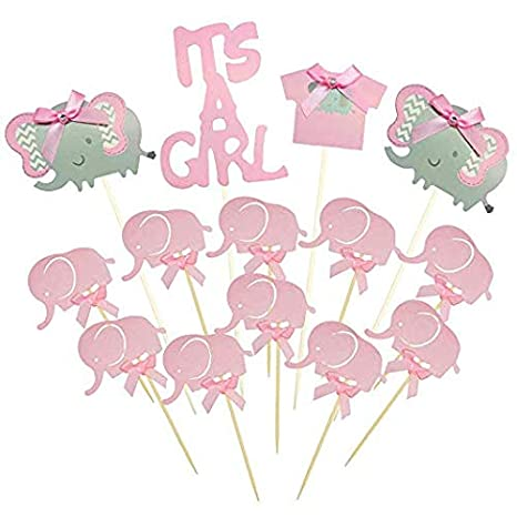 Amazon.com : Suhome Pink Elephant Cake Topper Baby Elephant Themed Cupcake Picks It Is A Girl Baby Shower Birthday Party Decorations Supplies : Grocery ...