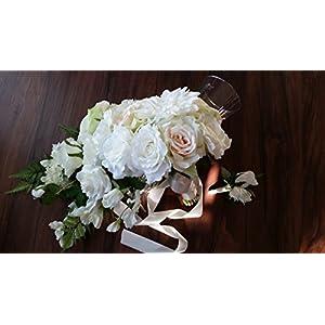 Boho White and Blush cascading Wedding Bouquet 68