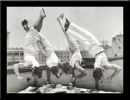 'LUNCH ON THEIR HANDS' Classic Black & White Photography Retro Acrobats Handstand art FRAMED PRINT- 34x26