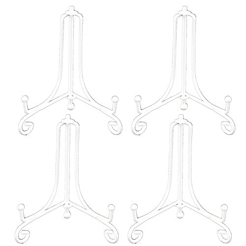 Artliving 4 Inch White Iron Small Plate Stand Holder, Picture Easel, Display Stand For Cookie, Photo,Placecard or at Weddings, Birthday Party(4 pack)