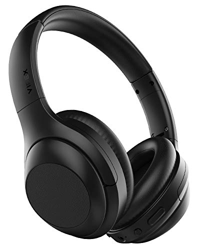 VIPEX Bluetooth Headphones, Bluetooth 5.0 Headphones Wireless Over Ear Headphones with Microphone, All Day Power with 30 Hours Playtime, Comfortable Protein Earpads (Black)