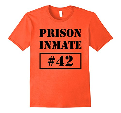 [Mens Prisoner Costume T-Shirt Inmate Funny Orange Escaped Jail 2XL Orange] (Kids Convict Costume Ideas)