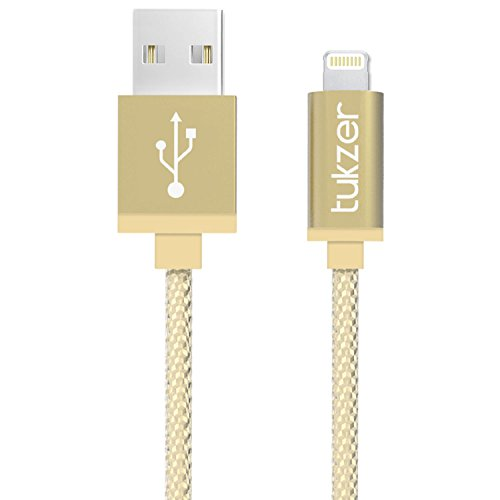 Tukzer Apple Certified 1Mtr Lightning 2.4A Nylon Braided Fast Charging & Data Sync Cable (Gold)