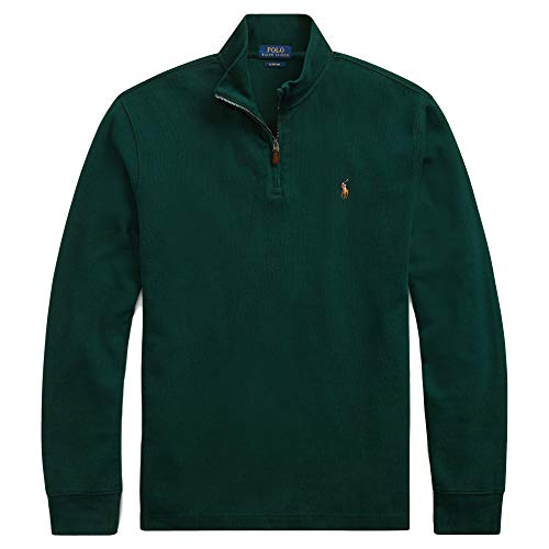 Polo Ralph Lauren Mens Half Zip French Rib Cotton Sweater (Large, ClgGreenSigPony)