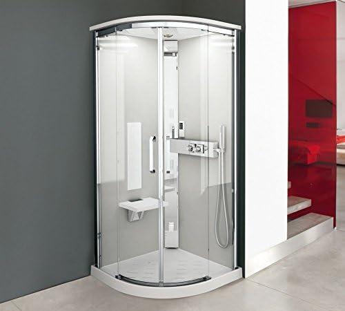 Cabina de ducha NEXIS R 90 x 90 cm en cuarto de círculo Version hydromassage o Hammam de puertas correderas: Amazon.es: Bricolaje y herramientas