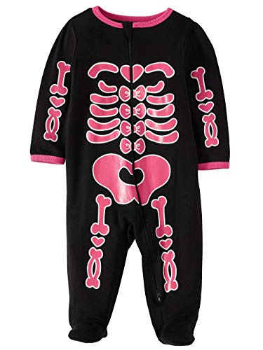 Assorted Policeman, Pumpkin, Cat, Ghost, Skeleton Baby Boys & Girls Halloween Footed Sleeper (Sizes Newborn-9 Months) (Newborn, Pink Skeleton) -