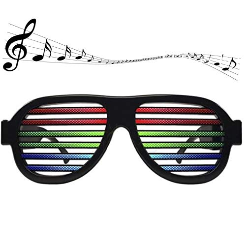 Yacig LED Flashing Glasses,Music Voice Control Luminous Eye Glasses Rechargeable Light up Shutter Shaded Eyeglasses with USB for Kids and Adults in Disco Party Christmas,Birthdays Camping (Black)]()