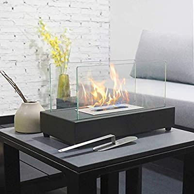 ART TO REAL Upgrades Rectangle Tabletop Bio Ethanol Fireplace Indoor Outdoor Fire Pit Portable Fire Bowl Pot Fireplace in Black, Realistic Burning