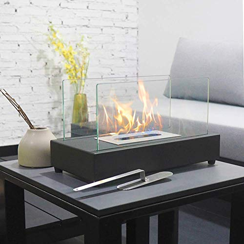ART TO REAL Upgrades Rectangle Tabletop Bio Ethanol Fireplace Indoor Outdoor Fire Pit Portable Fire Bowl Pot Fireplace in Black, Realistic -