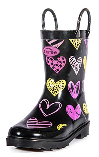 Outee Kids Toddler Girls Rain Boots Rubber Waterproof Shoes Printed Lovely Hearts Colorful Print with Easy On Handles (Size 11) ()