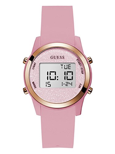 GUESS Women's Stainless Steel Silicone Digital Watch, Color: Pink (Model: U1031L3)