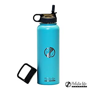 Holistic Flask (40 oz., Teal) - Stainless Steel Hydroflask Water Bottle Double Walled/Vacuum Insulated - BPA/Toxin Free – Wide Mouth with 2 Lids (Straw Lid, Carabiner Lid) 32 oz. - 40 oz.