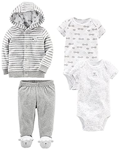 Simple Joys by Carter's Baby 4-Piece Terry Cardigan Set, White Lamb, 3-6 Months - Infant Footed Sleepwear
