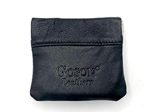 Goson Classic Leather Squeeze Coin Purse change Holder For Men and Women, Pouch size 3.25 in X 3.25 in