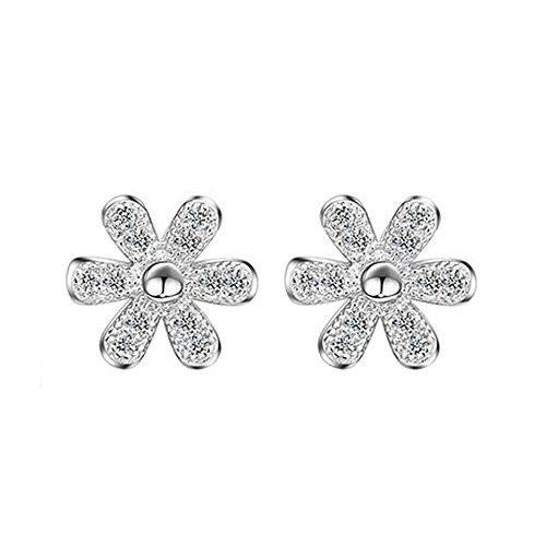 LANMPU Rhodium Plated Sterling Silver Daisy Flower Stud Earrings with Cubic Zirconia for Women - Sunglasses Online Australian