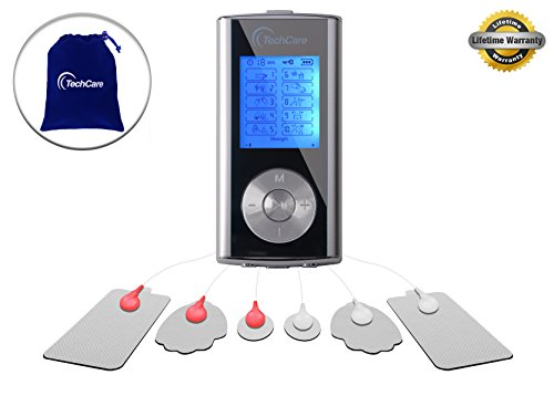 TechCare Mini Massager Tens Unit FDA 510k Cleared Lifetime Warranty Tens Machine for Drug Free Pain Management, Back Pain and Rehabilitation (Silver)