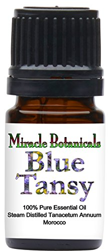 Essential Moroccan Chamomile Oil - Miracle Botanicals Wildcrafted Blue Tansy Essential Oil - 100% Pure Tanacetum Annuum - Therapeutic Grade - 5ml