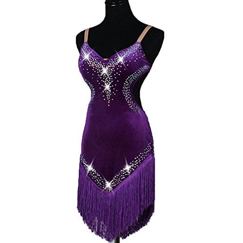 Imitación Latino Para De Baile Vestidos Ropa Rendimiento Mujeres Diamantes Vestido Terciopelo Con Profesional Aprovechar Purple Borla Competencia Moliyanzi w1qaX4