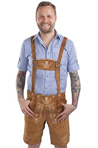 Schöneberger Men's Bavarian Lederhosen Brown - Oktoberfest Leather Trousers Alpenjaeger (40