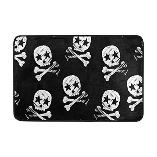 CANCA Halloween Black White Skulls Boo Doormats Floor Mats Shoe Scraper for Home Indoor Entrance Way Front Door 23.6 by 15.7 Inches 40 x 60 cm ()