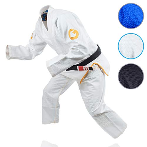 Gold BJJ Jiu Jitsu Gi - Ultra Strong Gold Weave Premium Kimono - IBJJF Competition Approved Uniform (White, A4) ()