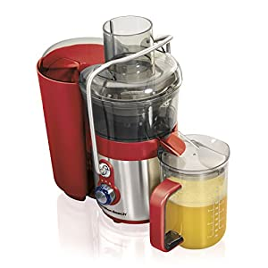 Hamilton Beach Premium Juicer Machine, Big Mouth 3″ Feed Chute, 2-Speed, Easy Clean, 850 Watts, BPA Free, Red and Stainless (67851) -Discontinued