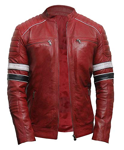 - III-Fashions Mens Retro Biker Brando Stripes Red Cafe Racer Rider Vintage Motorcycle Quilted Leather Jacket